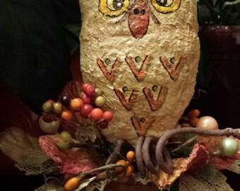 Spun Cotton Owl on vintage block, harvest, fall, halloween decor