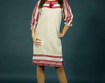 Vyshyvanka dress. Folk Womens Linen Beige Dress. Fashion embroidered dress. Ukrainian Women's dress. Ukrainian wedding dress, Holiday dress