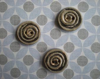 Handmade Pottery Buttons - Grey Spiral - Set of 4