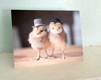 Two Chickens Wearing Top Hats Chicks in Hats Baby Animal Cards Cute Stationary #13