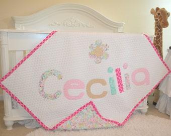 "Personalized Quilt, Name Quilt, Applique Quilt, Baby Quilt, Baby Blanket, Crib Bedding, Custom Blanket, Custom Quilt, Handmade Quilt 45x54"""