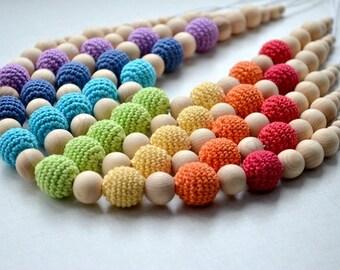 Rainbow Teething necklace,Nursing necklace,pregnant woman gift,mom stocking stuffer,Eco Multicolor Colorful,Breastfeeding,Babywearing