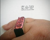 """RING Custom STAMP .5x1"""" Laser Cut and Engraved Stamps You Design your own stamp on Rubber"""