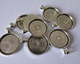 10 x Antique Silver 25mm (1 inch) pendant trays