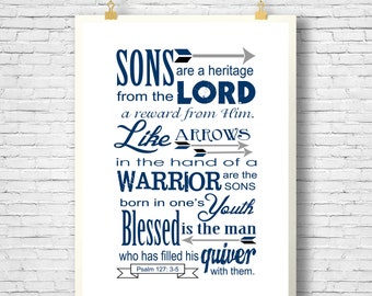 Father's Day, Bible Verse, Scripture art, Psalm 127:3-5, Sons are a Heritage from the Lord, Scripture printable, Instant Download