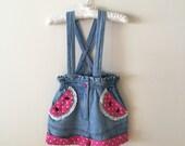 Vintage Watermelon Paper Bag Waist Denim Short Overalls, Size 2T to 3T