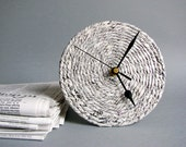 Recycled paper desk clock • 1st anniversary gift for couple • Upcycled newspaper clock • Handmade eco-friendly home decor