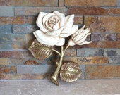 Rose wall plaque - 1974 Miller Studio Inc. rose wall plaque - rose wall hanging - shabby chic rose