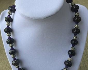 Purple Ceramic Bead Necklace