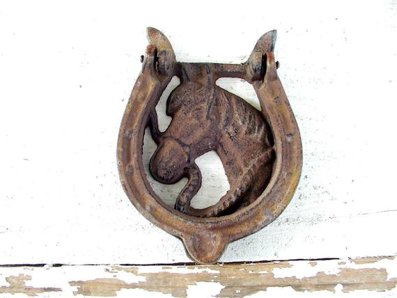 Horse door knocker for your barn tack room cabin rusty - Horse door knocker ...