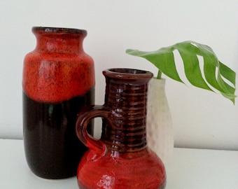 Retro ceramic vase by BAY Keramia West Germany 1960s burgundy&brown