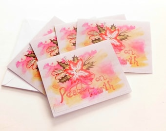 Peace On Earth Holiday Greeting Cards ~ Blank Greeting Card Set ~ Original Painting by Vallee Rose ~ Christmas in July