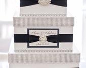 Wedding Card box / Card holder / Wedding money box - 3 tier - personalized - white and black
