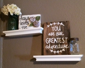 Reclaimed wood sign - baby room - hand painted - rustic nursery