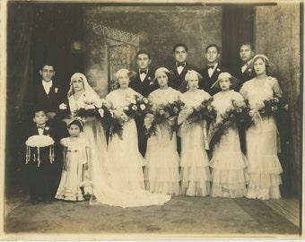 Hispanic Wedding, c1920s Vintage Studio Photo 8x10 (157391 OS)