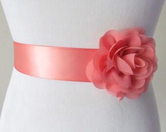 Bridesmaid Sash / Bridal Sash / Ribbon Sash /  Satin Sash / Flower Sash /