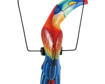 Hand carved blue wooden toucan hanging art piece, tropical island tiki decoration