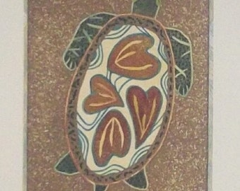 """Mixed media, turtle, wall décor, 4""""W x 6""""H"""
