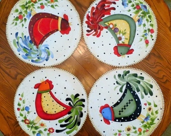 "Straw placemats Hand Painted Set of 4 Large round with beaded border whimsical  country roosters and flowers 15.5"" diameter cottage decor"