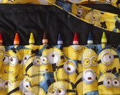 Minion inspired crayon bag. Complete with a Minion Colouring Book and Crayola Crayons.  Ready to Ship