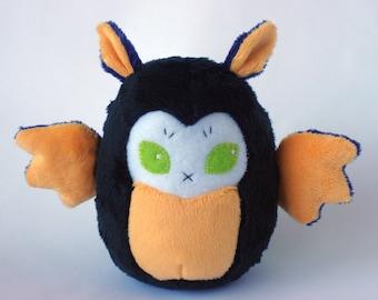 Halloween Orange Purple and Black Chubby Bat Plushie