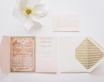 Rustic Glam Wedding Invitations Printed on Wood