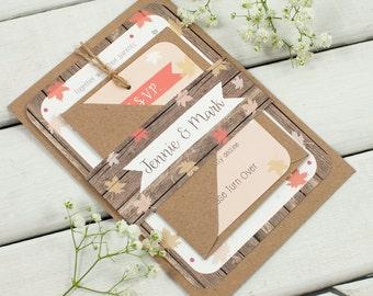 Autumn Leaves wedding invitation bundle - Fall Autumn Wedding - blush coral