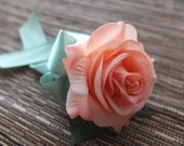 Peach & Mint Boutonniere, Peach Rose with Mint ribbon and rhinestone accent
