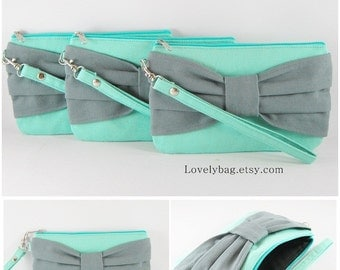 SUPER SALE - Set of 4 Mint with Gray Bow Clutches - Bridal Clutches, Bridesmaid Wristlet, Wedding Gift, Zipper Pouch - Made To Order