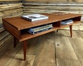 QUICK SHIP-Boxer mid century modern coffee table with storage, featuring sapele mahogany with tapered wood legs.