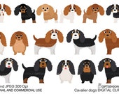 Cavalier dogs digital clip art for Personal and Commercial use - INSTANT DOWNLOAD
