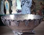 ANTIQUE FRUIT BOWL French Vintage Metal Copper Ornamentalvines