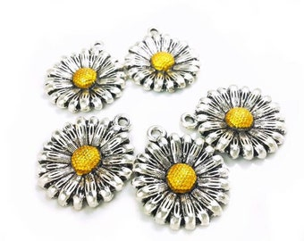 2 Sunflower Pendant, Sun Flower Charm 24x20mm - Antique Silver and Yellow - CH0063