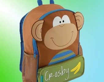 Backpack - Personalized and Embroidered - Sidekick Backpack - MONKEY