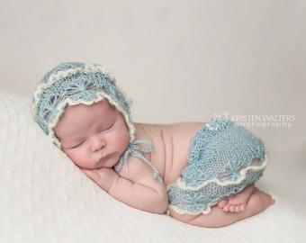 Knitted Mohair Bonnet and skirt- photo props newborn - Dusty Blue