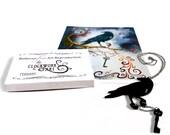 Black Laser Cut Clockwork Steampunk Raven Pendant Necklace