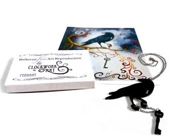 Laser Cut Clockwork Steampunk Raven Pendant Necklace