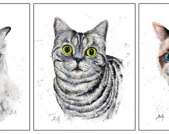 Set of 3: 8x10 Original Custom Watercolour Pet Portraits