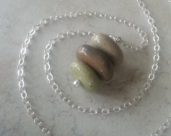 Memorial Bead Pendant or Necklace - Custom Keepsake Stoneware Pottery Pet Cremains Jewelry - STACKED STONES