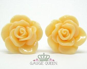 "Peach Rose Plugs / Gauges. 4g / 5mm, 2g / 6.5mm, 0g / 8mm, 00g / 10mm, 1/2"" / 12mm, 9/16"" / 14mm"