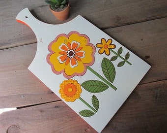 Mid Century Cutting Board Modern Flower Power Cheese Board