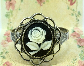 Black Cameo Ring with Flower Design~Adjustable~Vintage/Victorian Inspired