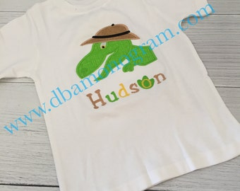 Monogrammed Dinosaur Applique Shirt or Outfit