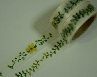 2 Rolls of Japanese Washi Tape Roll- Flower and Leaves
