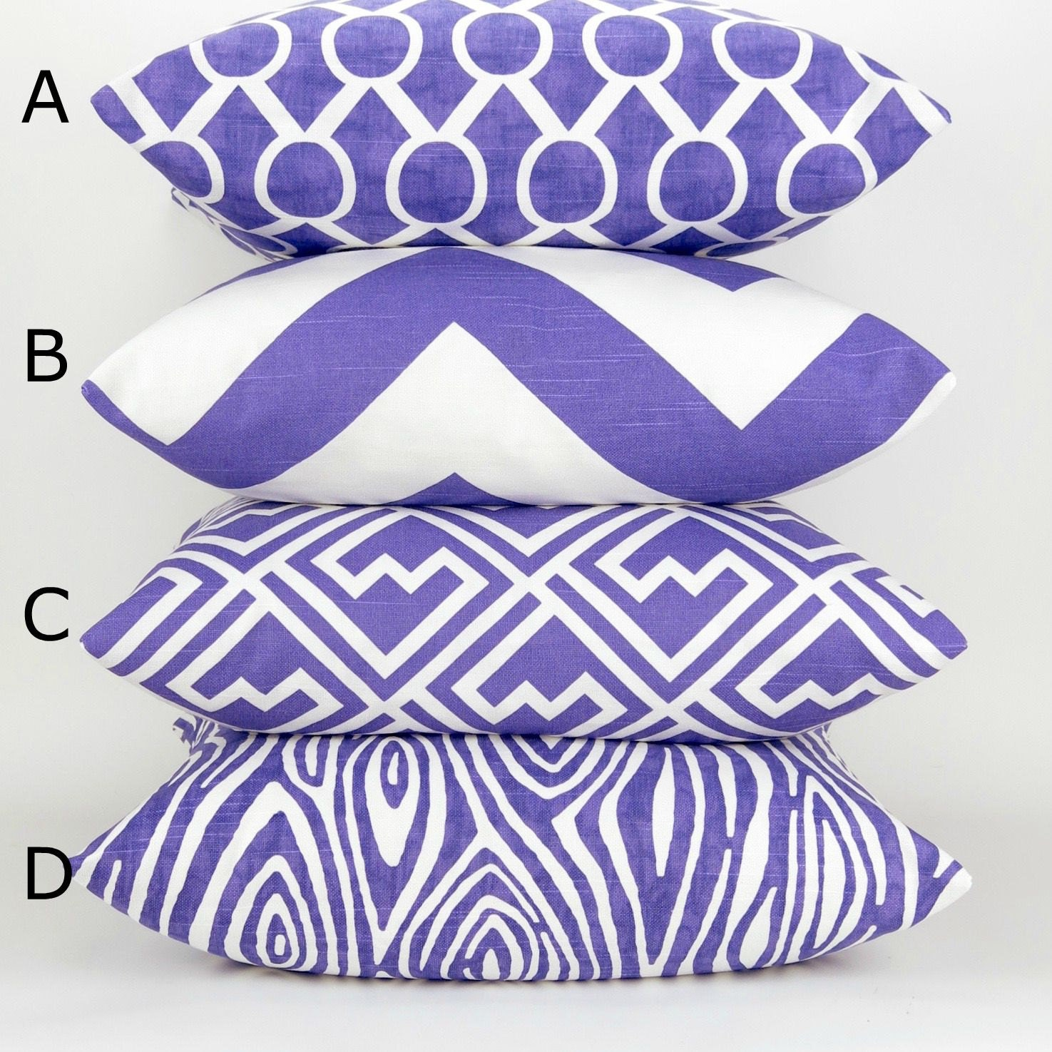 Decorative Pillow Cover Patterns : Purple Throw Pillow Cover Mix & Match Patterns MANY SIZES