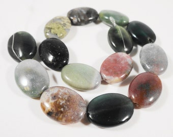 """Indian Agate Gemstone Beads 14x10mm (10x14mm) Flat Oval Shaped Natural Multicolor Fancy Jasper Stone Beads on a 7 1/2"""" Strand with 14 Beads"""