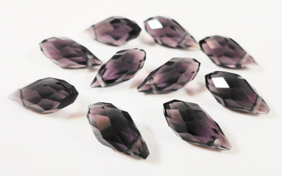 Briolette Crystal Beads 12x6mm Deep Plum Purple Faceted Chinese Crystal Glass Top Drilled Teardrop Drop Crystal Beads 10 Loose Beads