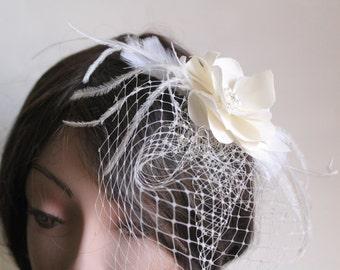 Birdcage Blusher Veil , Flower Fascinator Set, Ostrich Feathers, Pearl Rhinestone Pendunt Wedding Headpiece