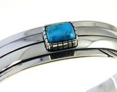 Heavy Sterling Silver Bracelet with Bisbee Turquoise