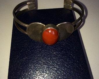 Sterling 925 vintage art deco jasper cuff bracelet